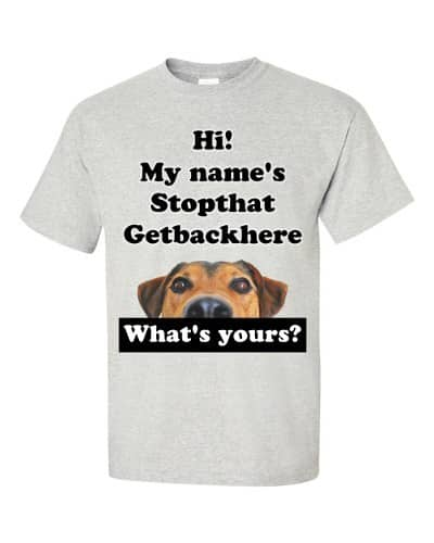 My Name's Stopthat Getbackhere T-Shirt (ash)