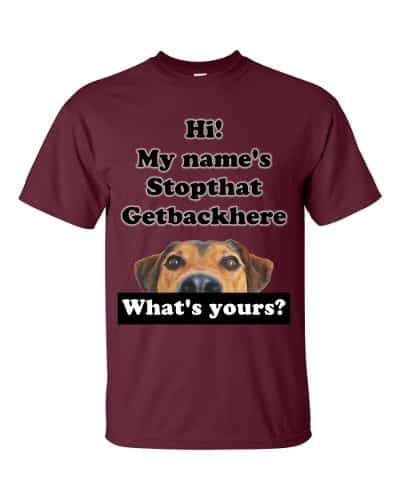 My Name's Stopthat Getbackhere T-Shirt (maroon)