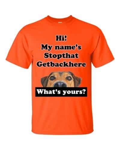 My Name's Stopthat Getbackhere T-Shirt (orange)