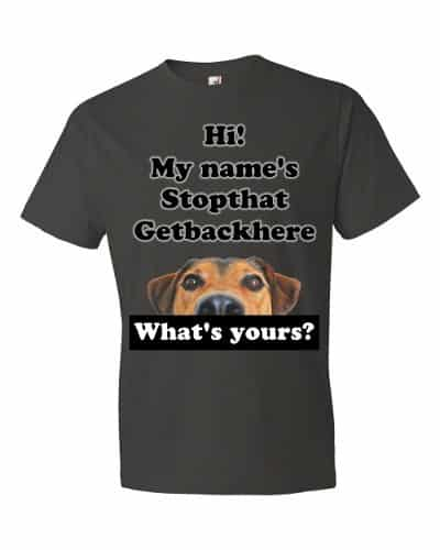 My Name's Stopthat Getbackhere T-Shirt (smoke)