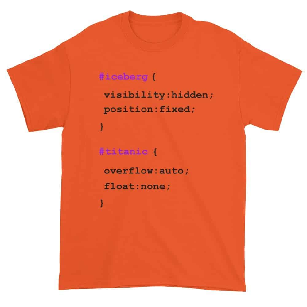 Iceberg vs. Titanic T-Shirt (orange)